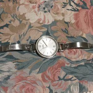 Silver Diamond Fossil Watch